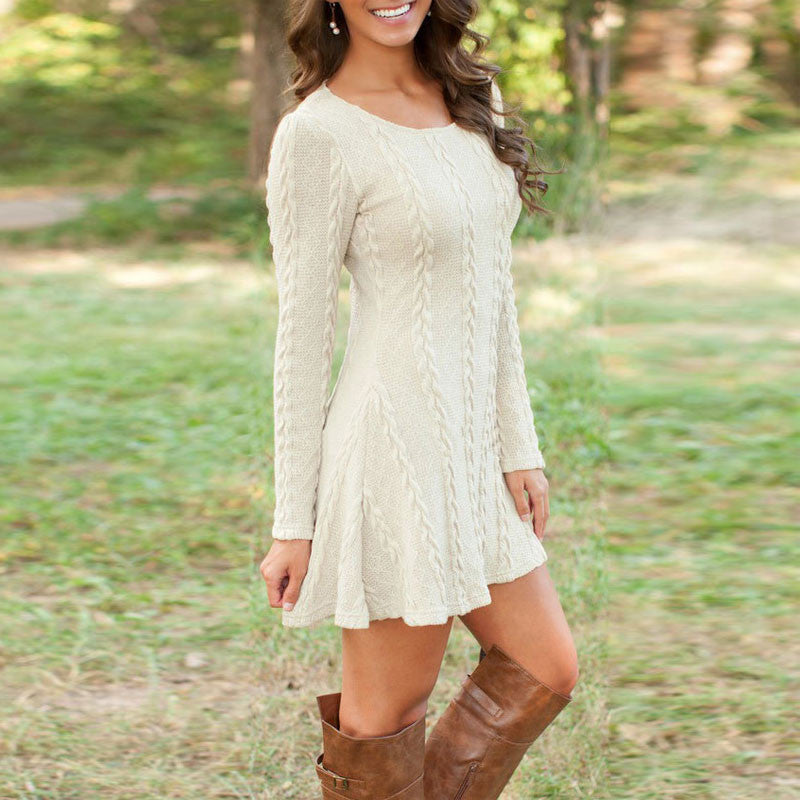 Knitting Round Neck Long Sleeve Sweater Dress - Oh Yours Fashion - 1