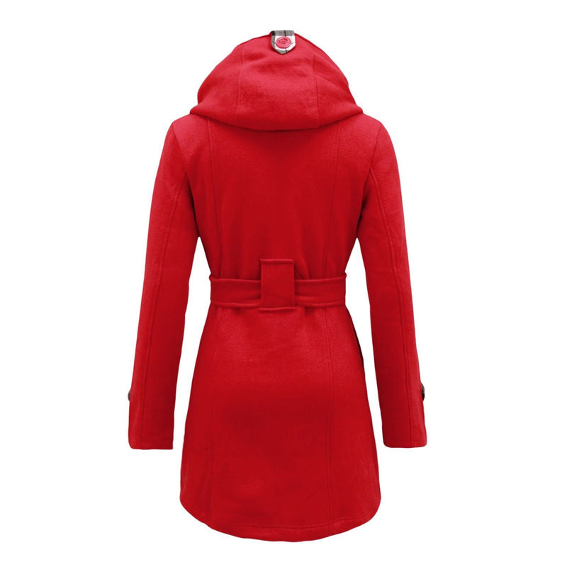 Plus Size Double Breasted Long with Belt Hooded Coat - Oh Yours Fashion - 10