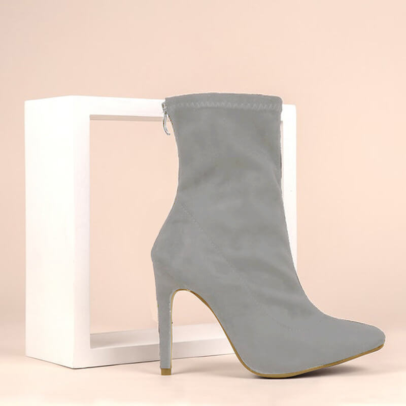 High Heel Suede Pointed Toe Calf Sock Boots