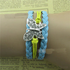 Crystal Butterfly Woven Leather Cord Bracelet - Oh Yours Fashion - 1