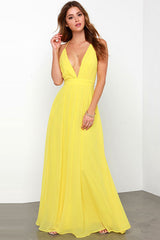 Bohemian Spaghetti Straps V-neck Backless Pure Color Long Party Dress