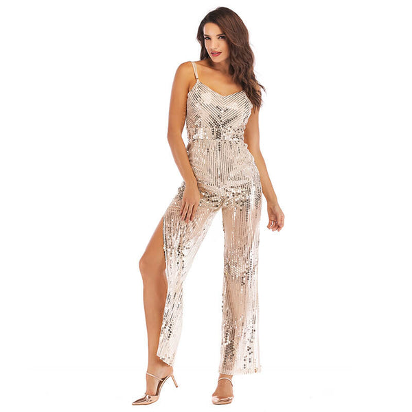 Sequin Overlay Slits Jumpsuit