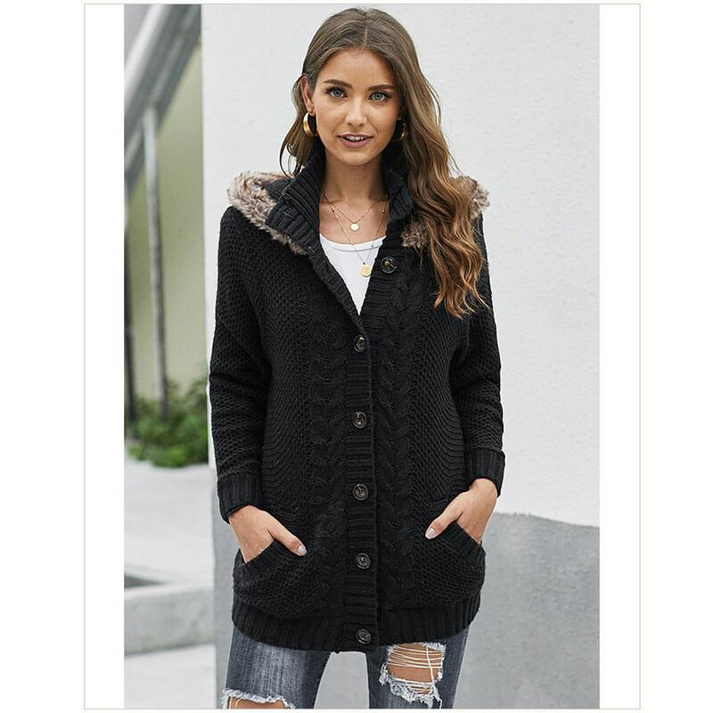 Hoodie Cardigan Button-Up Sweater Coat