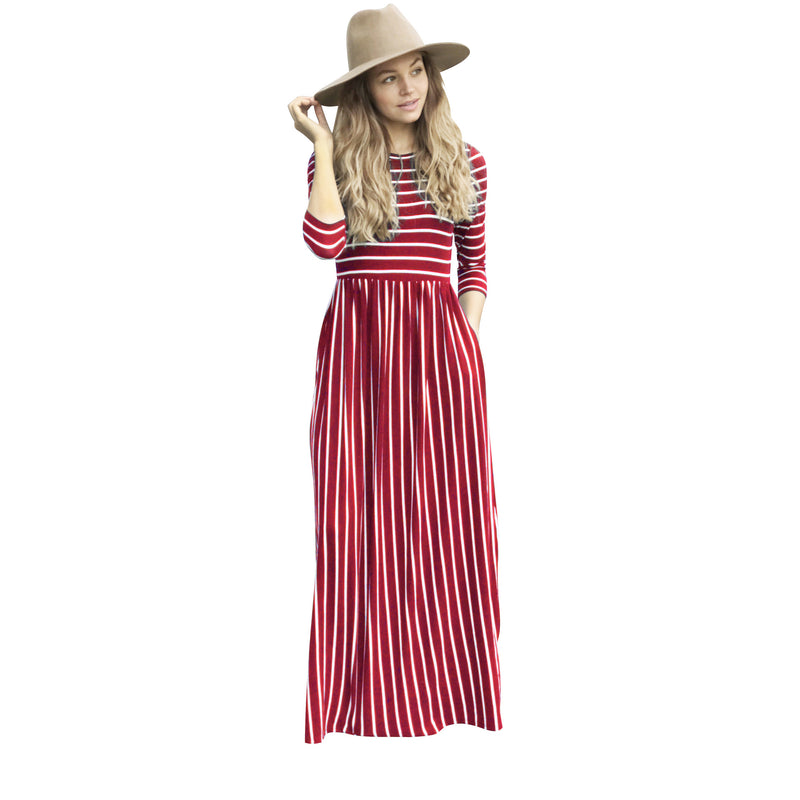 Stripe Patchwork 3/4 Sleeves Pockets Women Long Dress