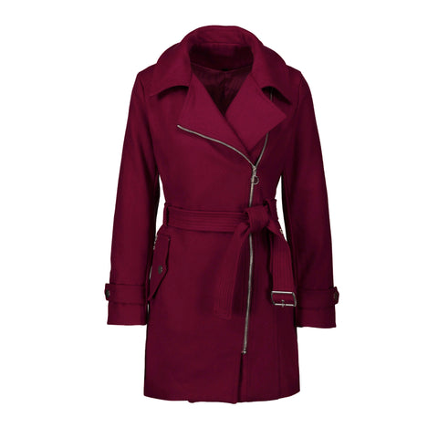 Lapel Solid Color Oblique Zipper Women Oversized Trench Coat with Belt