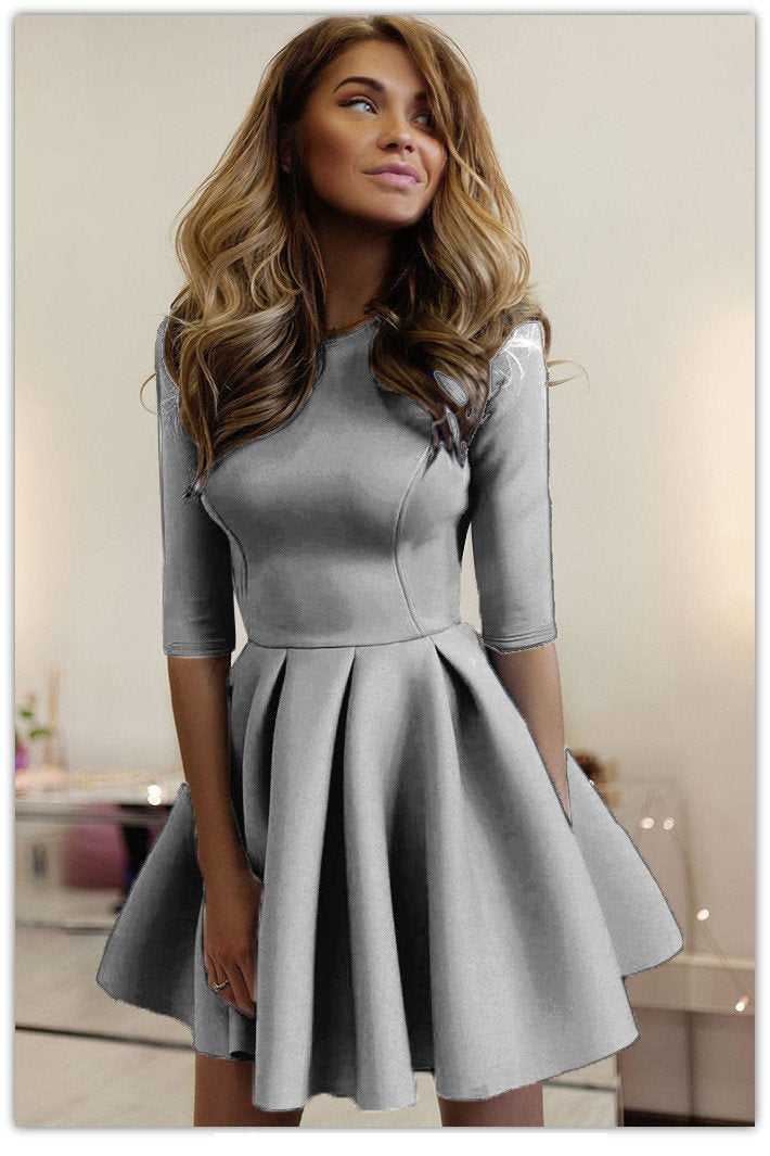 Pure Color Half Sleeves Scoop Pleated Short Dress