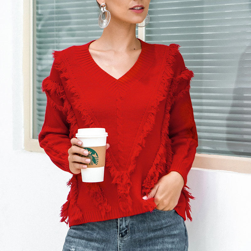 V Neck Tassel Knit Christmas Sweater