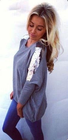 Batwing Sequin Long Sleeves Scoop Casual Blouse - Oh Yours Fashion - 2
