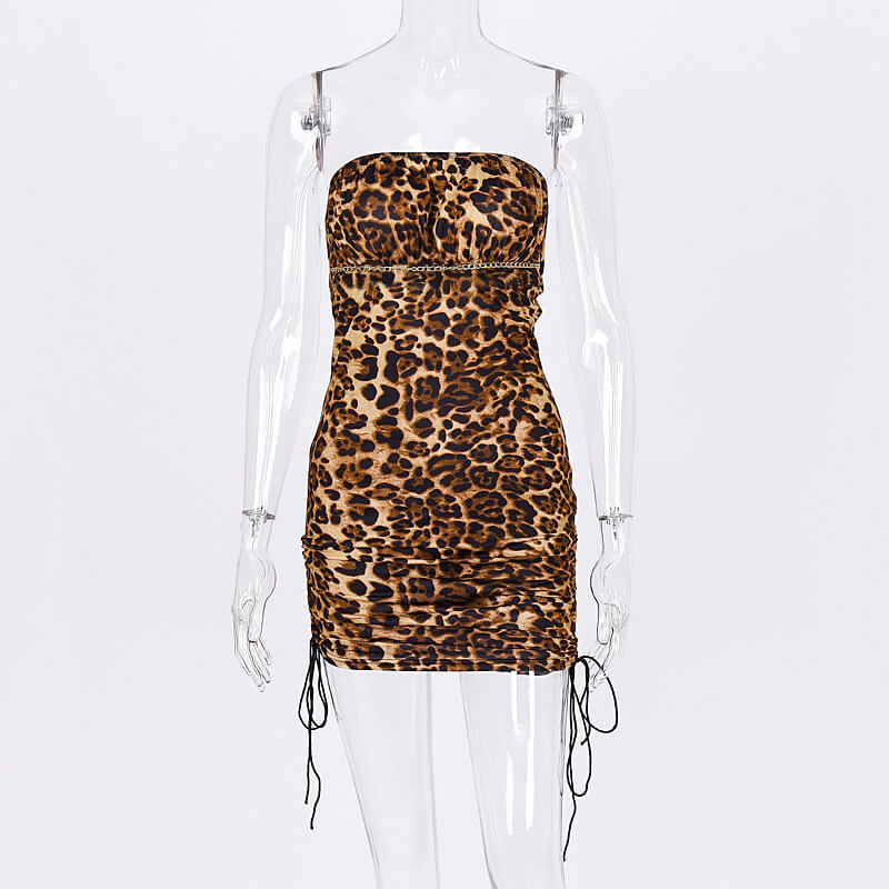 Tube Leopard Ruched Bodycon Dress