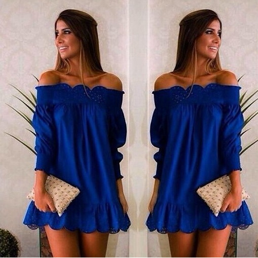 Sexy Off Shoulder Long Sleeve Short Dress - Meet Yours Fashion - 1