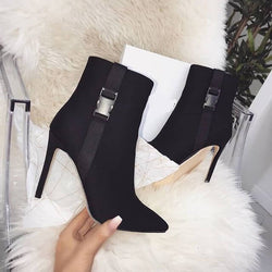 Leather High Heel Suede Calf Boots