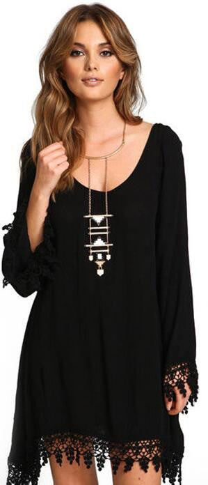 Plus Size Long Sleeve Tassel Black Short Dress - Oh Yours Fashion - 2