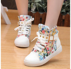 Cute Floral Print Skull Lace Up High Cut Women Sneakers - MeetYoursFashion - 1