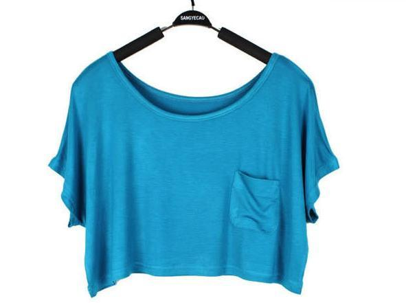 Scoop Casual Short Sleeve Pocket Short Midriff-baring T-shirt - Meet Yours Fashion - 8