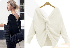 Sexy Wrap Style Long Sleeve Knitting Sweater - Oh Yours Fashion - 2