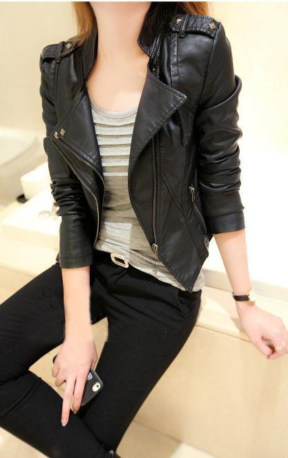 Stand Collar PU Zipper Slim Short Jacket - Meet Yours Fashion - 1