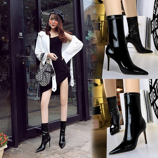 Black Patent Leather Point Toe High Heel Calf Boots