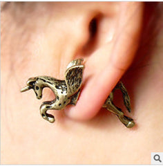 3D Unicorn Pegasus Through Single Earring - Oh Yours Fashion - 3