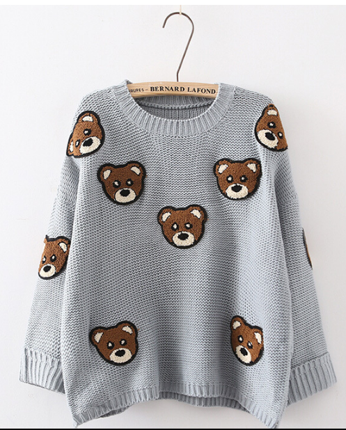 Bear Print Scoop Pullover Loose Knit Sweater - Oh Yours Fashion - 2