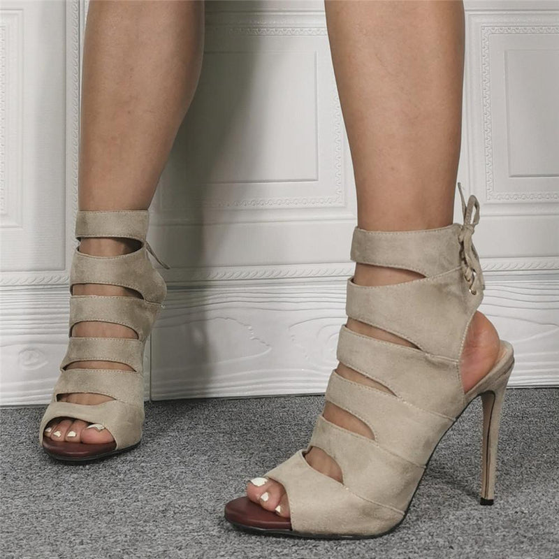 Gray Suede Peep Toe Cutout High Heel Sandals