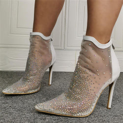 White Mesh Rhinestone Point Toe High Heel Ankle Sandals