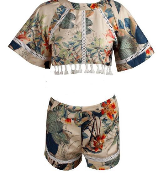 Hollow Out Print Tassel Short Sleeves Crop Top and Shorts Suit - Oh Yours Fashion - 2
