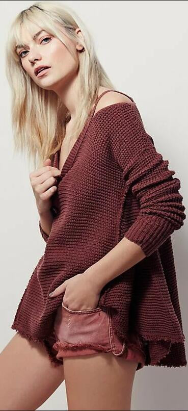 Street Style Bare Shoulder Loose Long Sweater - Oh Yours Fashion - 2