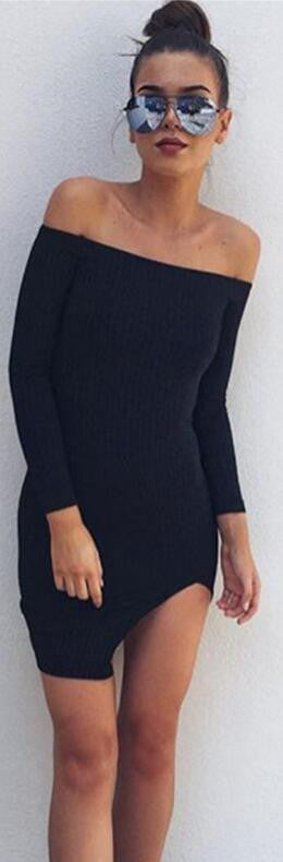 Off Shoulder Long Sleeve Split Bodycon Short Black Dress - Oh Yours Fashion - 2