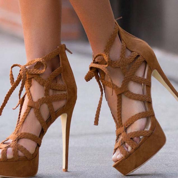 Platform Lace Up Strappy Ankle Cutout Sandals