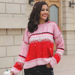 Slouchy Colorblock Raglan Christmas Sweater
