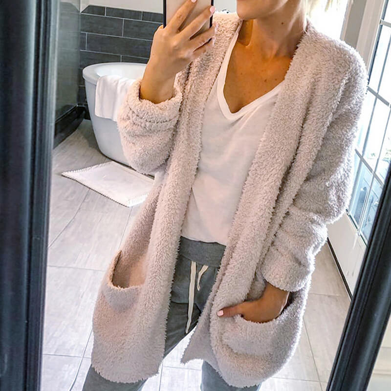 Pocket Fluffy Cardigan Long Sleeved Sweater