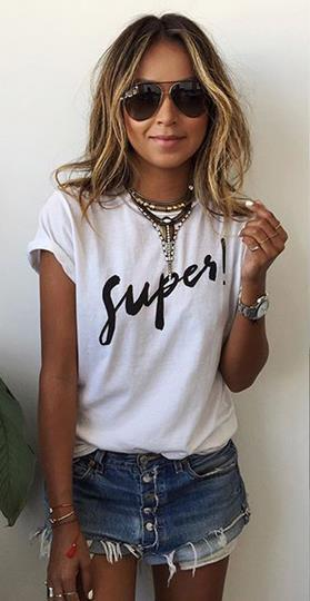 Short Sleeves Letter Print Scoop Casual T-shirt - Meet Yours Fashion - 2