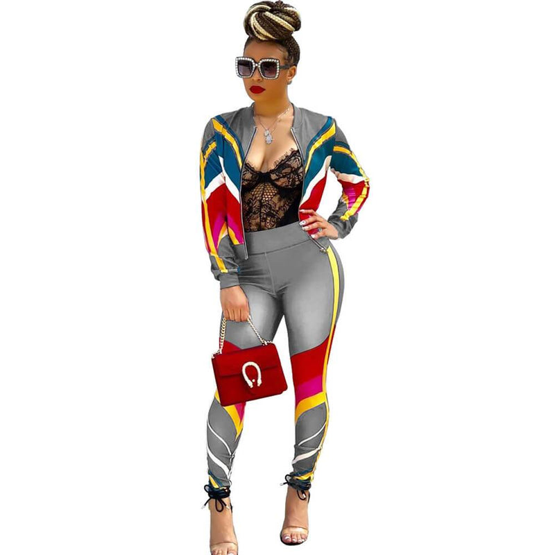 Zipper Crop Top Patchwork High Waist Skinny  Pants Set