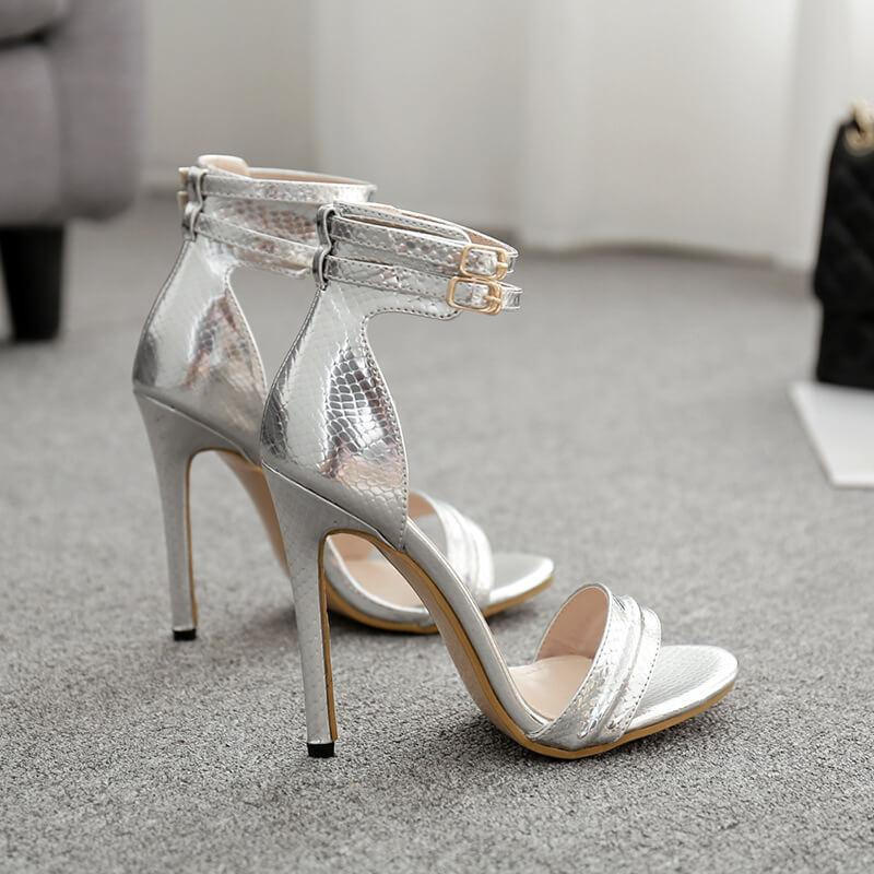 PU Chain Transparent Open Toe Ankle Wrap Stiletto High Heel Sandals