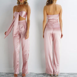Pure Color Backless Crop Top with Wide-Legs Pants Two Pieces Set