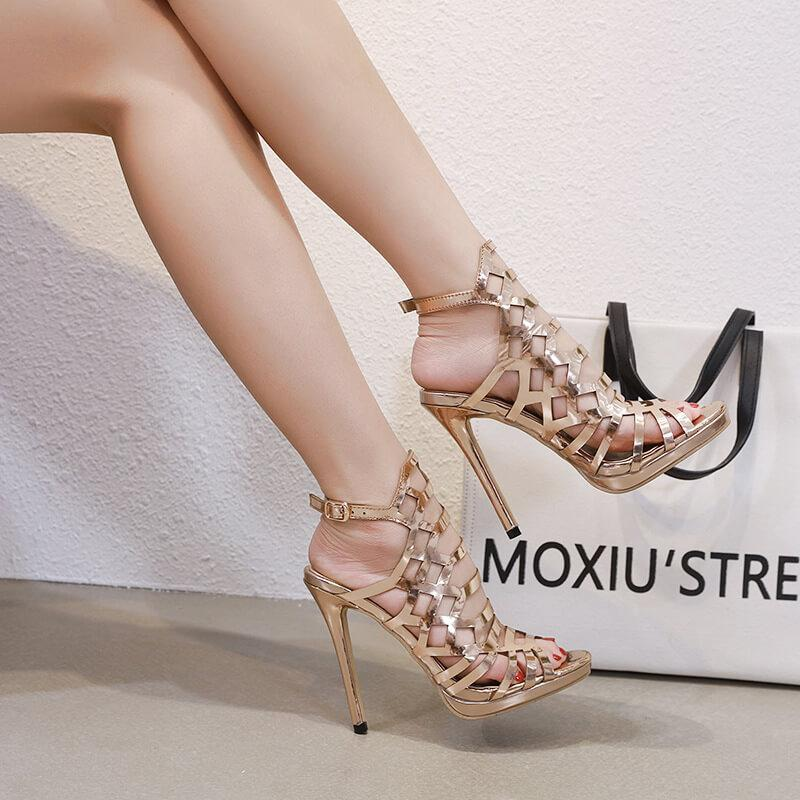 Hollow Out PU High Heels Platform Sandals