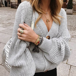 Button Up Balloon Sleeve Knit Cardigan