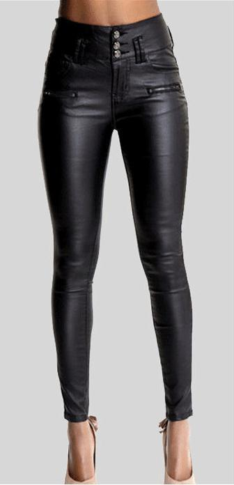 PU Leather High Waist Slim Elastic Pencil Pants - Meet Yours Fashion - 2