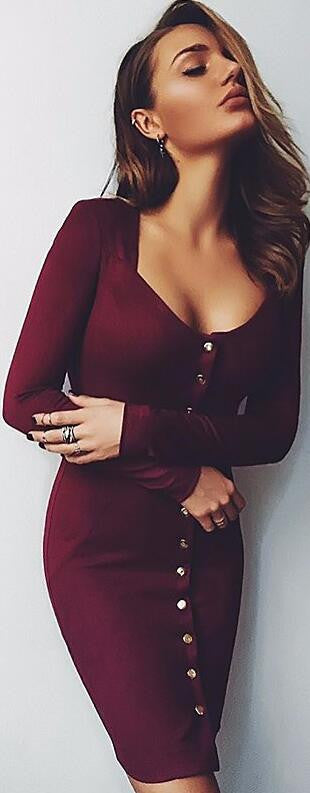 Sexy Front Button Square Neck Short Bodycon Dress - Oh Yours Fashion - 2