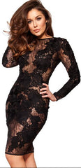 Black Hollow Out Embroidery Bodycon Knee-Length Dress - Oh Yours Fashion - 2