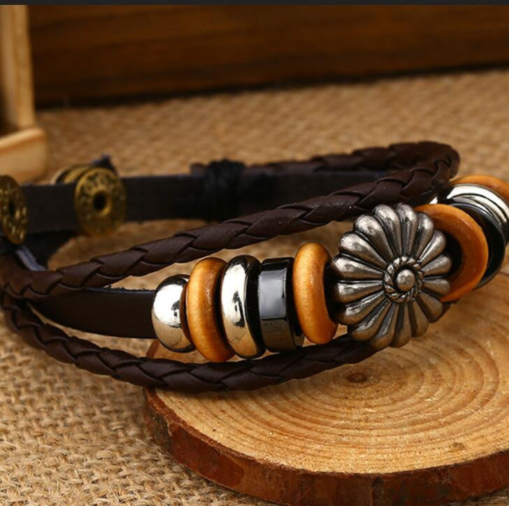 Fashion Beaded Woven Leather Bracelet - Oh Yours Fashion - 4