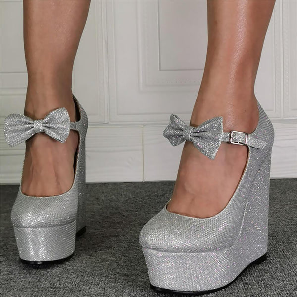 Sliver Sequin Platform Wedge Bow Sandals