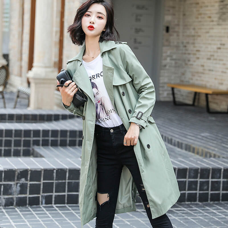 Loose Plain Long Trench Coat
