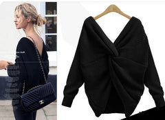 Sexy Wrap Style Long Sleeve Knitting Sweater - Oh Yours Fashion - 6