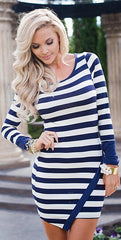 Classic Long Sleeve Scoop Stripe Irregular Short Dress - Oh Yours Fashion - 2