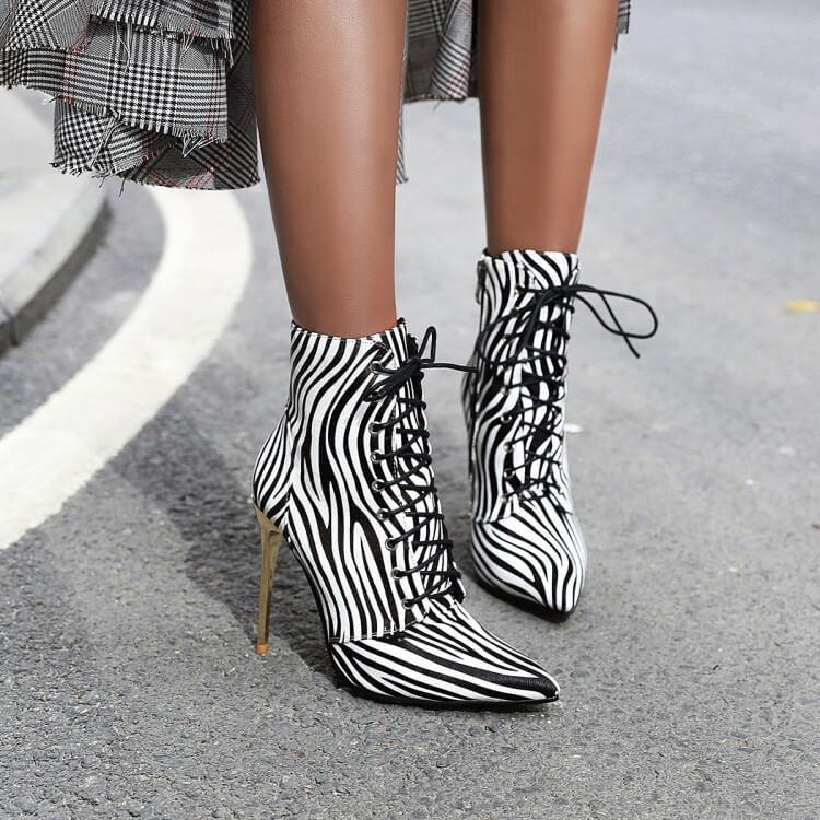 Leather Lace Up Leopard Stripe Print Calf Boots