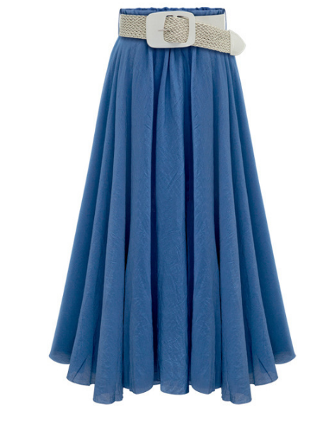 Pleated Solid Slim Belt Cotton Long Skirt - Oh Yours Fashion - 6