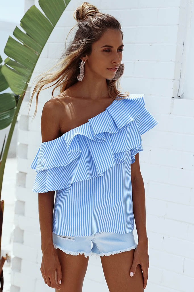 Striped One Shoulder Short Sleeves Loose Blouse