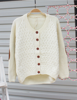 Cardigan Pure Color Elbow Patch Knit Sweater - Oh Yours Fashion - 2