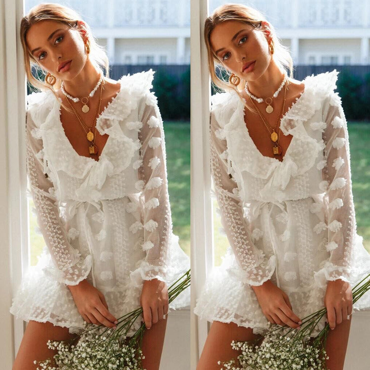 White Lace Flapper V Neck Long Sleeve Dress